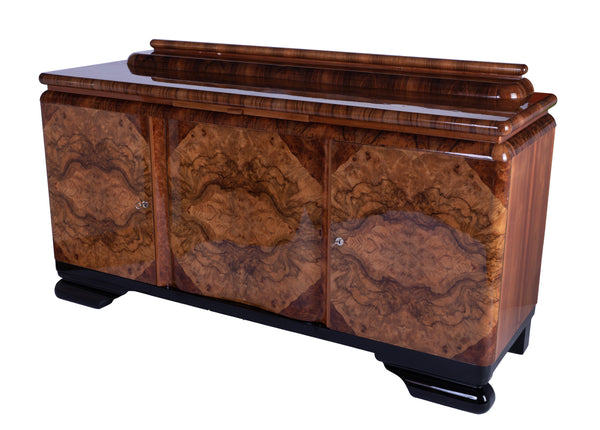 Colossal French Art Deco Sideboard Credenza In Burl Wood / Black Lacquer