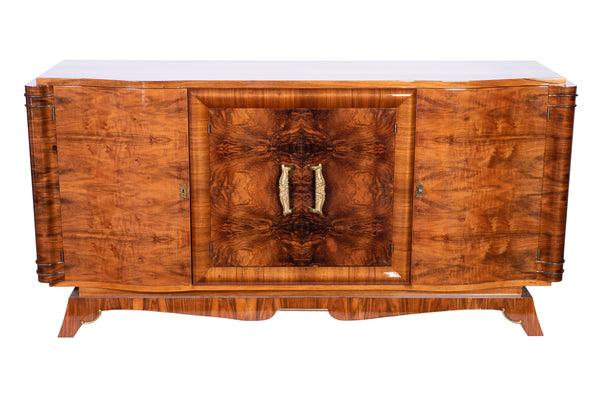 Luxe French Art Deco Sideboard Credenza In Amboine Burl