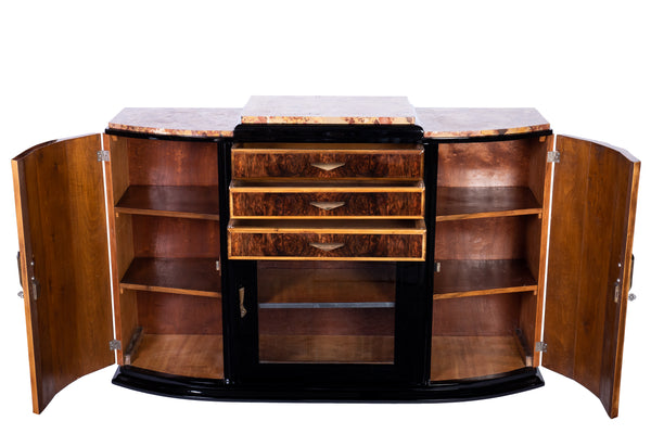 Art Deco Sideboard Credenza Showcase In Walnut With Marble Top
