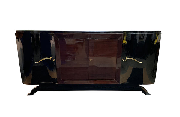 Luxe Art Deco Sideboard Credenza Buffet In Palisander And Black Lacquer