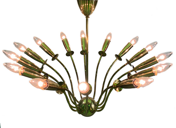 Beautiful 1950's Brass Sputnik Chandelier