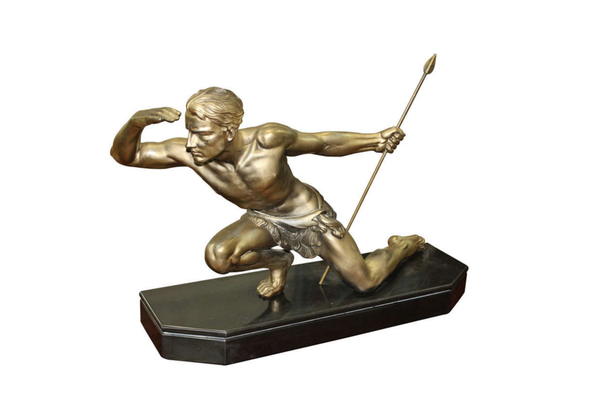 Petit Bronze Sculpture Of A Hunting Man By Jean de RONCOURT - Art Deco Antiques