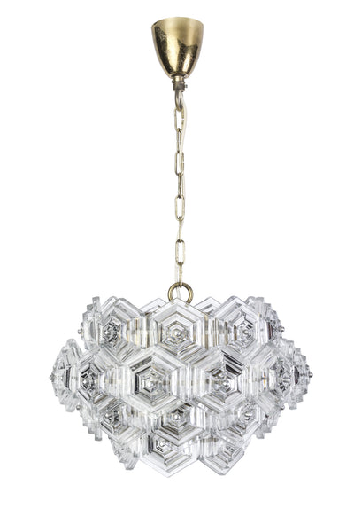 Beautiful Mid-Century Modernist Crystal Chandelier - Art Deco Antiques  - 1