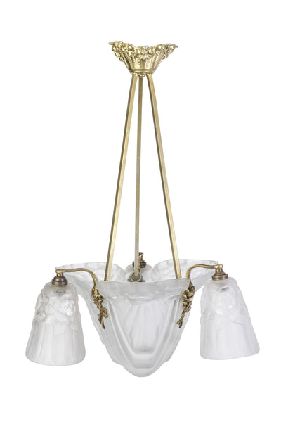 Luxe French Art Deco Chandelier By Degue - Art Deco Antiques  - 1