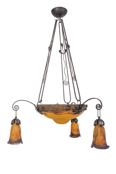 "Elegant 1920's French Art Deco Chandelier Signed ""Muller Fres Luneville"" - Art Deco Antiques  - 1"