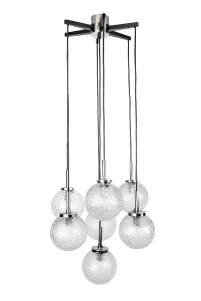 Stunning Mid-Century Modernist Glass Ball Pendant / Chandelier By Doria - Art Deco Antiques  - 1