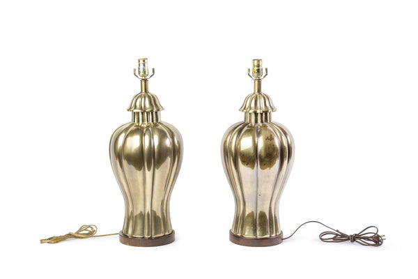 Elegant Pair of 1970's Vintage Frederick Cooper Brass Jar Lamps - Art Deco Antiques  - 1