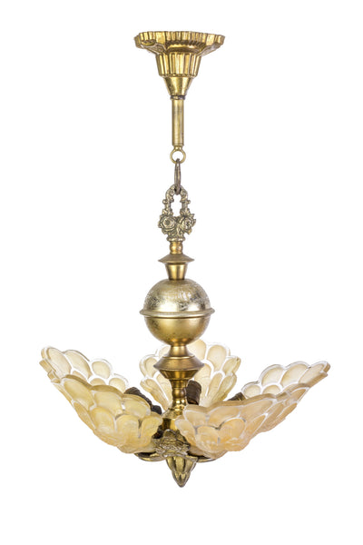Exquisite Art Deco Chandelier With Peacock Shaped Glass Shades By Martele - Art Deco Antiques  - 1