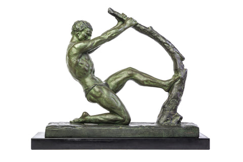 "John RONCOURT - Statue ART DECO ""human force"" - Regulates bronze patina - Art Deco Antiques  - 1"