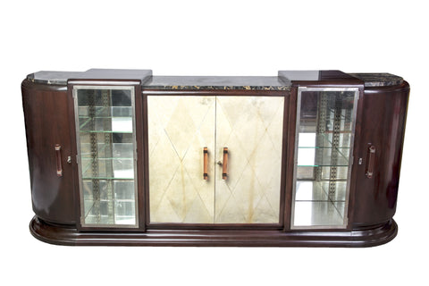 Colossal French Art Deco Buffet / Sideboard With Parchment Covered Doors - Art Deco Antiques  - 1