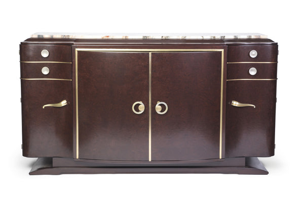 Luxe French Art Deco Buffet / Sideboard In Loupe d'Amboine - Art Deco Antiques  - 1