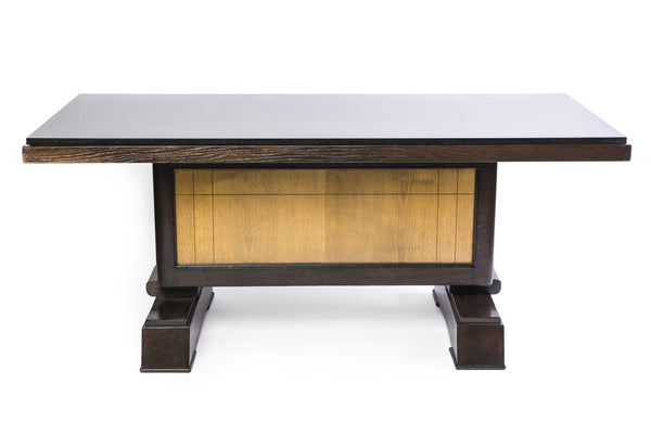 Unique Art Deco Dining Table In Tiger Oak by Alfred Porteneuve - Art Deco Antiques  - 1