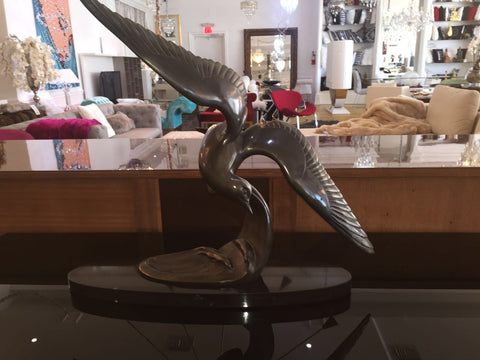 Bronze Sculpture Of Soaring Bird In Black Oval Marble - Art Deco Antiques  - 1