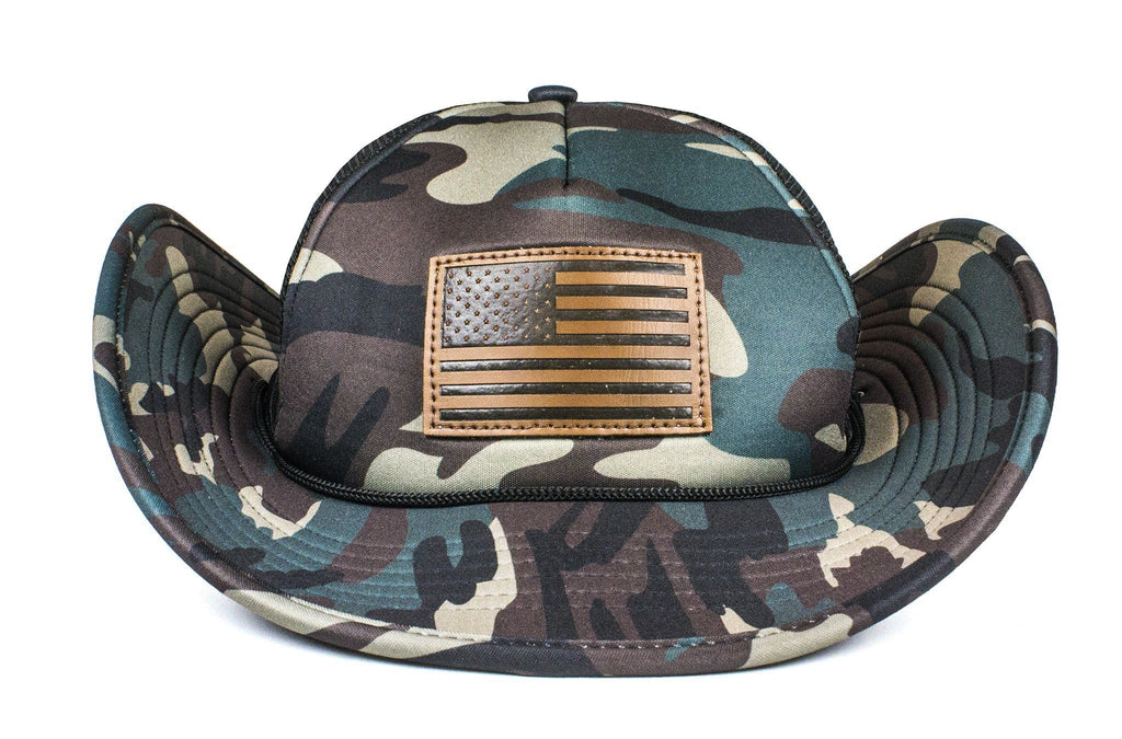 The Leather American Flag Camo Bucker