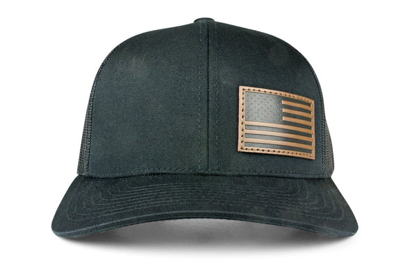 The Offset Leather American Flag Trucker