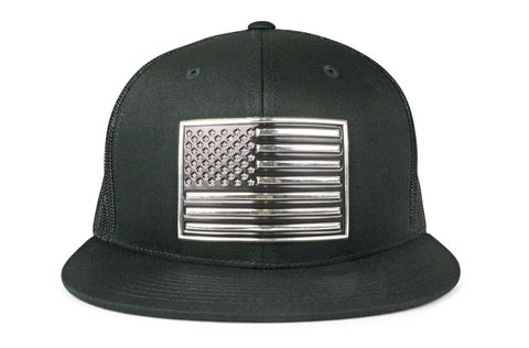 The Chrome & Country American Flag Flatbill Trucker