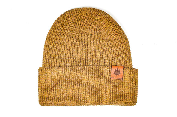 The Geo Trees Leather Waffle Knit Beanie