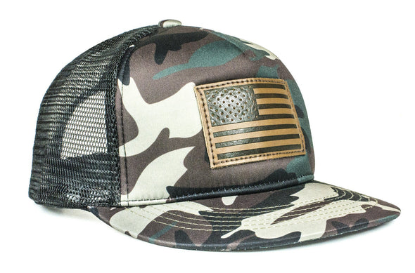 The Leather American Flag Camo Trucker