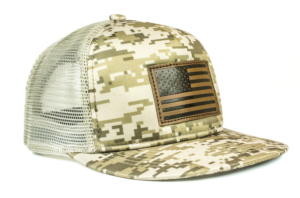 The Leather American Flag DigiCamo Trucker