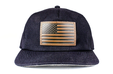 The Leather American Flag Unstructured Wool Snapback