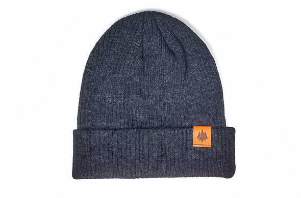 The Geo Trees Leather Slouch Beanie
