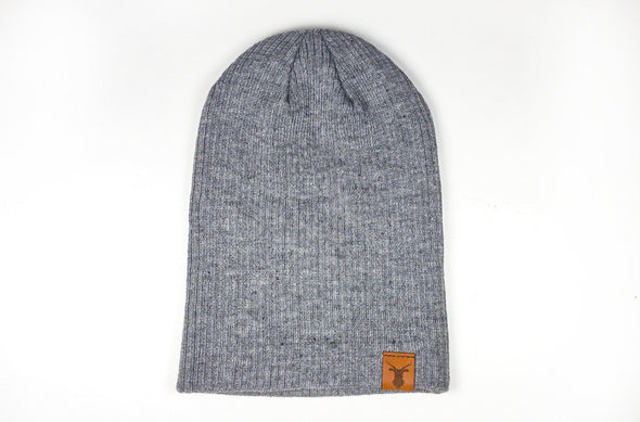 The Geo Deer Leather Slouch Beanie