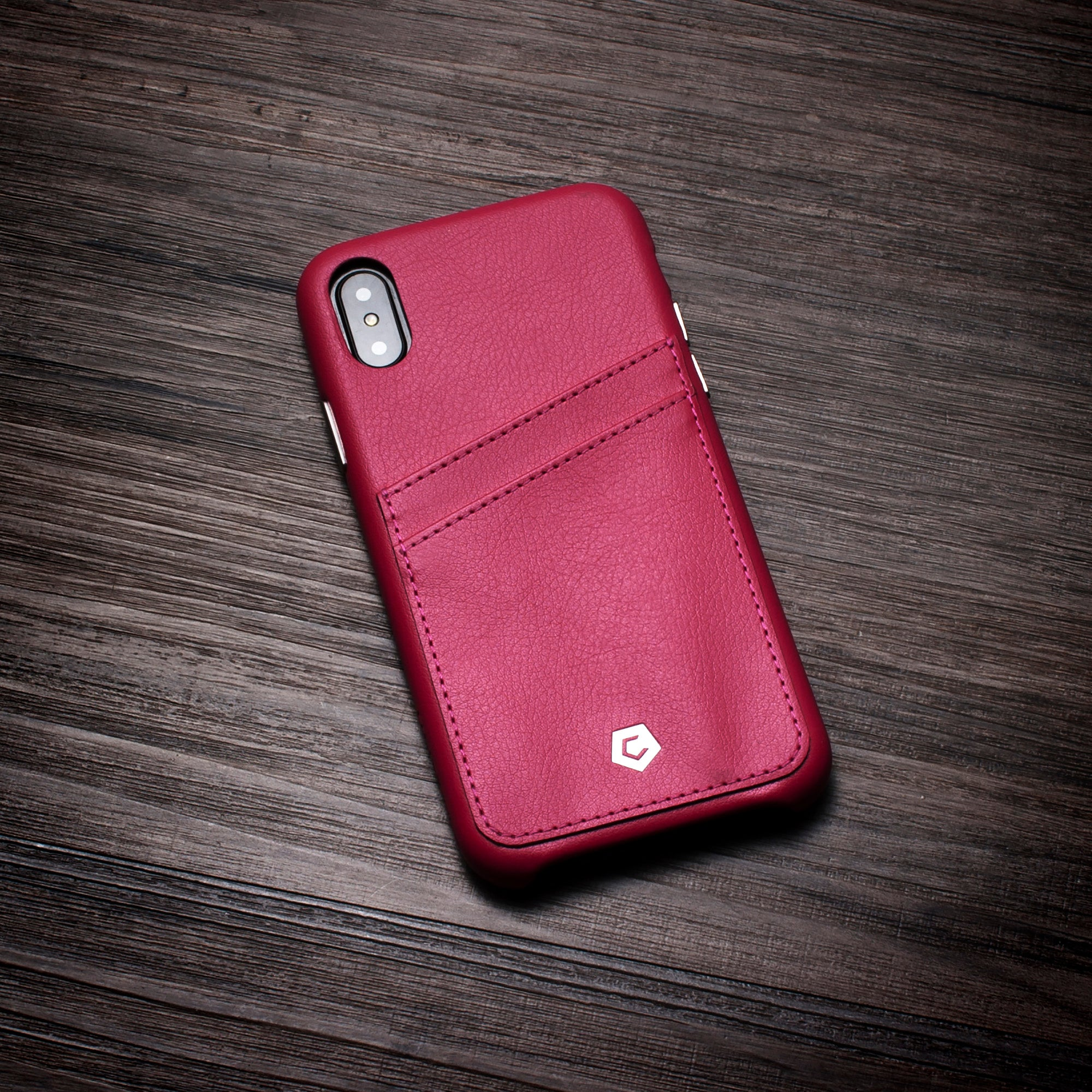 new style 25665 3207d Red Leather Textured Back Cover Case for iPhone X