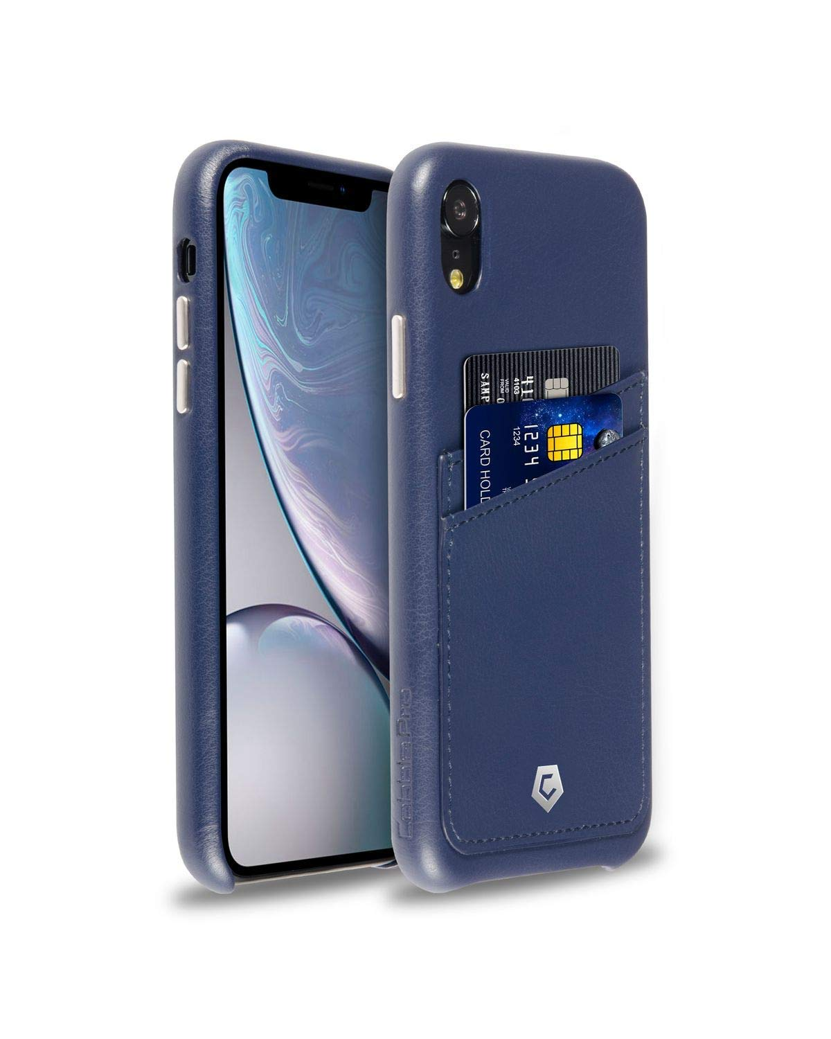 best loved 97f83 49922 Dark Blue Leather Textured Back Cover Case for iPhone XR