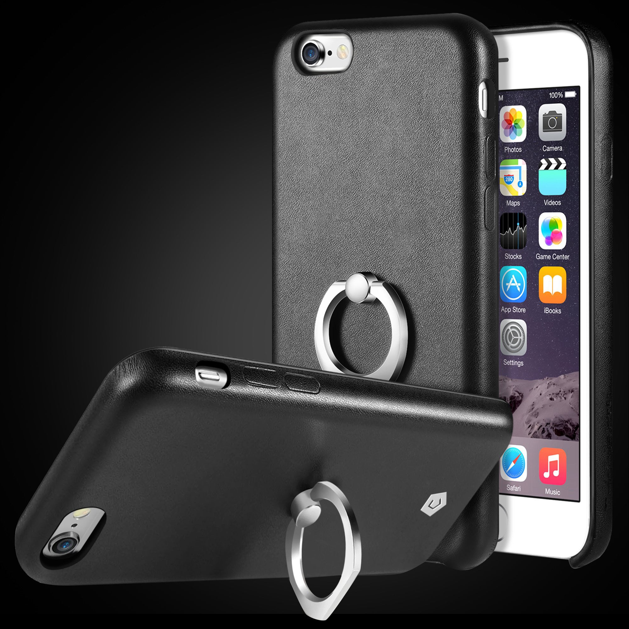 wholesale dealer e5436 cb45c Black Leather Textured Back Case with Ring Stand for iPhone 6 / 6s