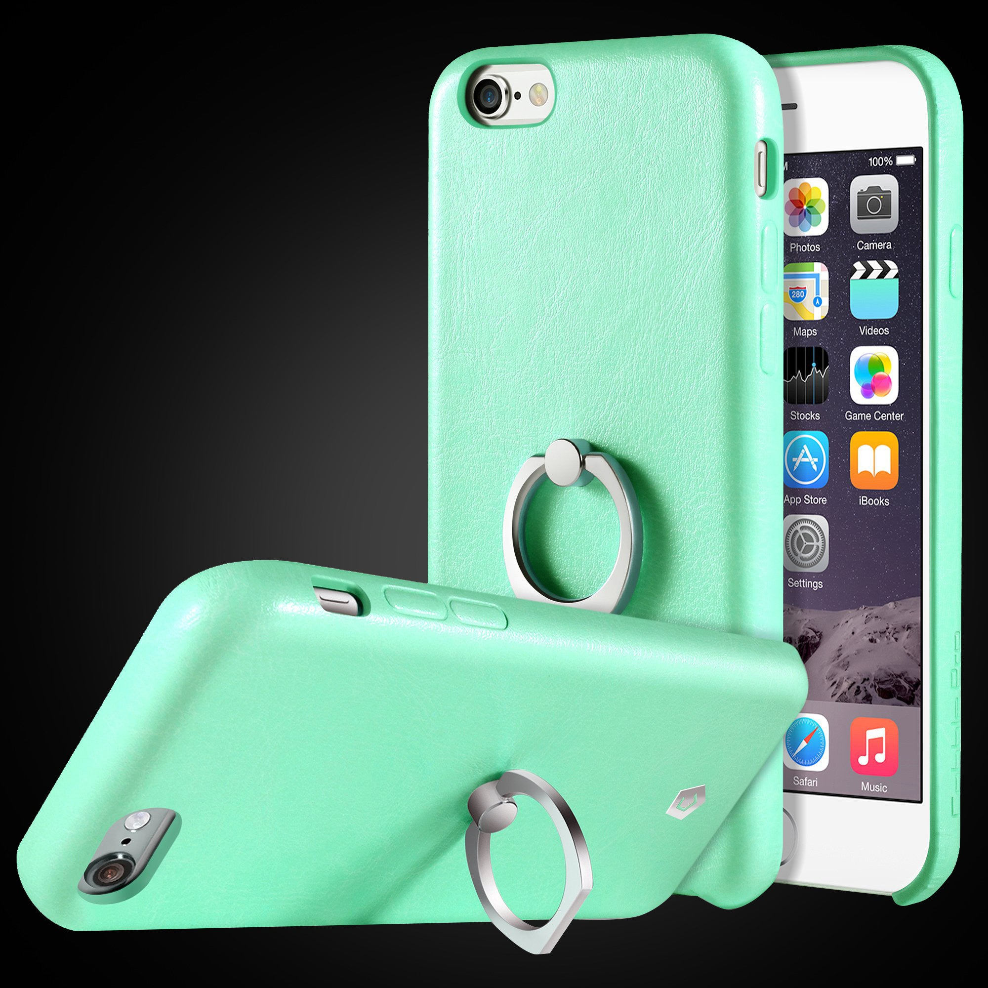 wholesale dealer 47c74 b94bf Mint Green Leather Textured Back Case with Ring Stand for iPhone 6 / 6s