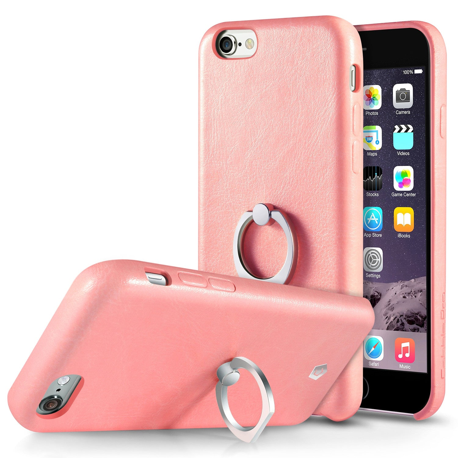 check out e769a 5fefd Pink Leather Textured Back Case with Ring Stand for iPhone 6 Plus / 6s Plus