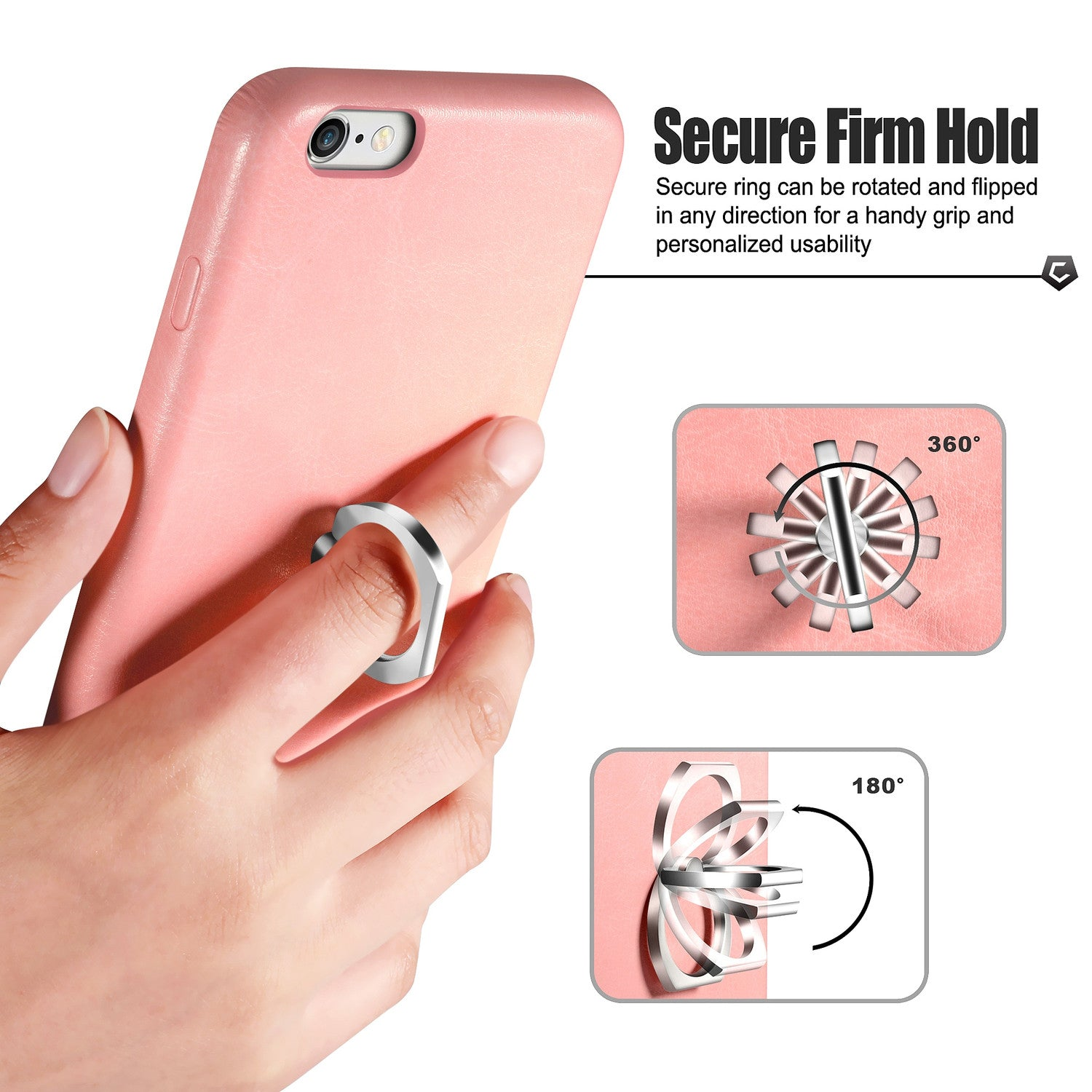 check out 19013 d1f7d Pink Leather Textured Back Case with Ring Stand for iPhone 6 Plus / 6s Plus