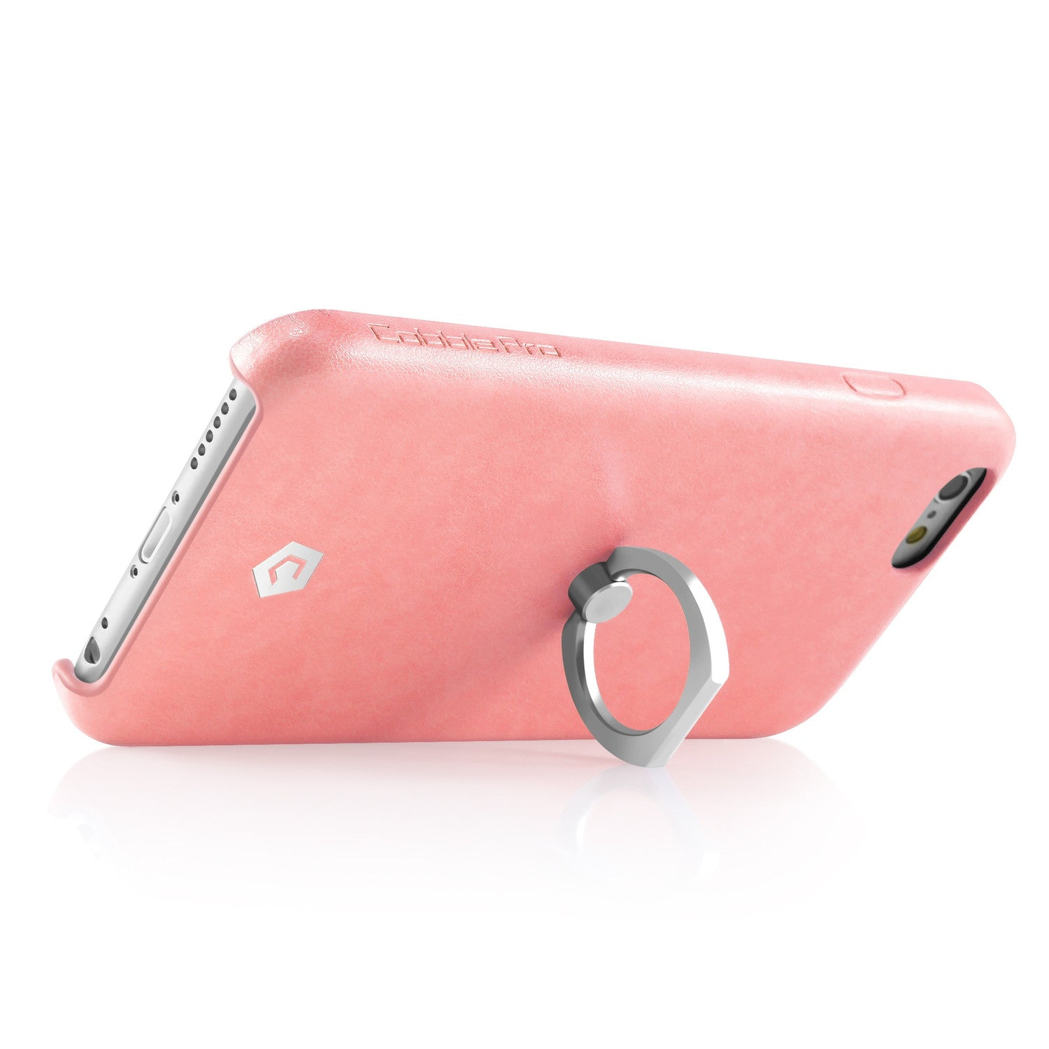 check out 51357 b0dce Pink Leather Textured Back Case with Ring Stand for iPhone 6 Plus / 6s Plus