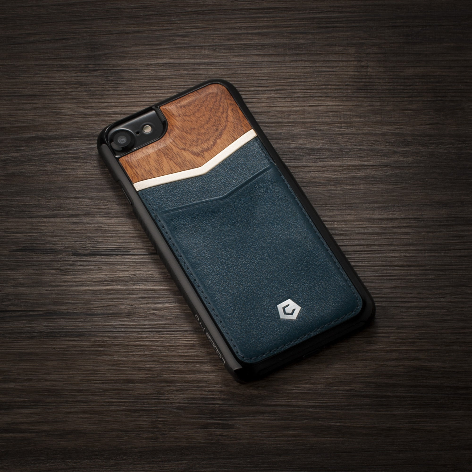 on sale dd6e4 298af Cherry Wood/Dark Blue Genuine Leather Wooden Back Cover with Card Slot for  iPhone 6 / 6s / 7 / 8