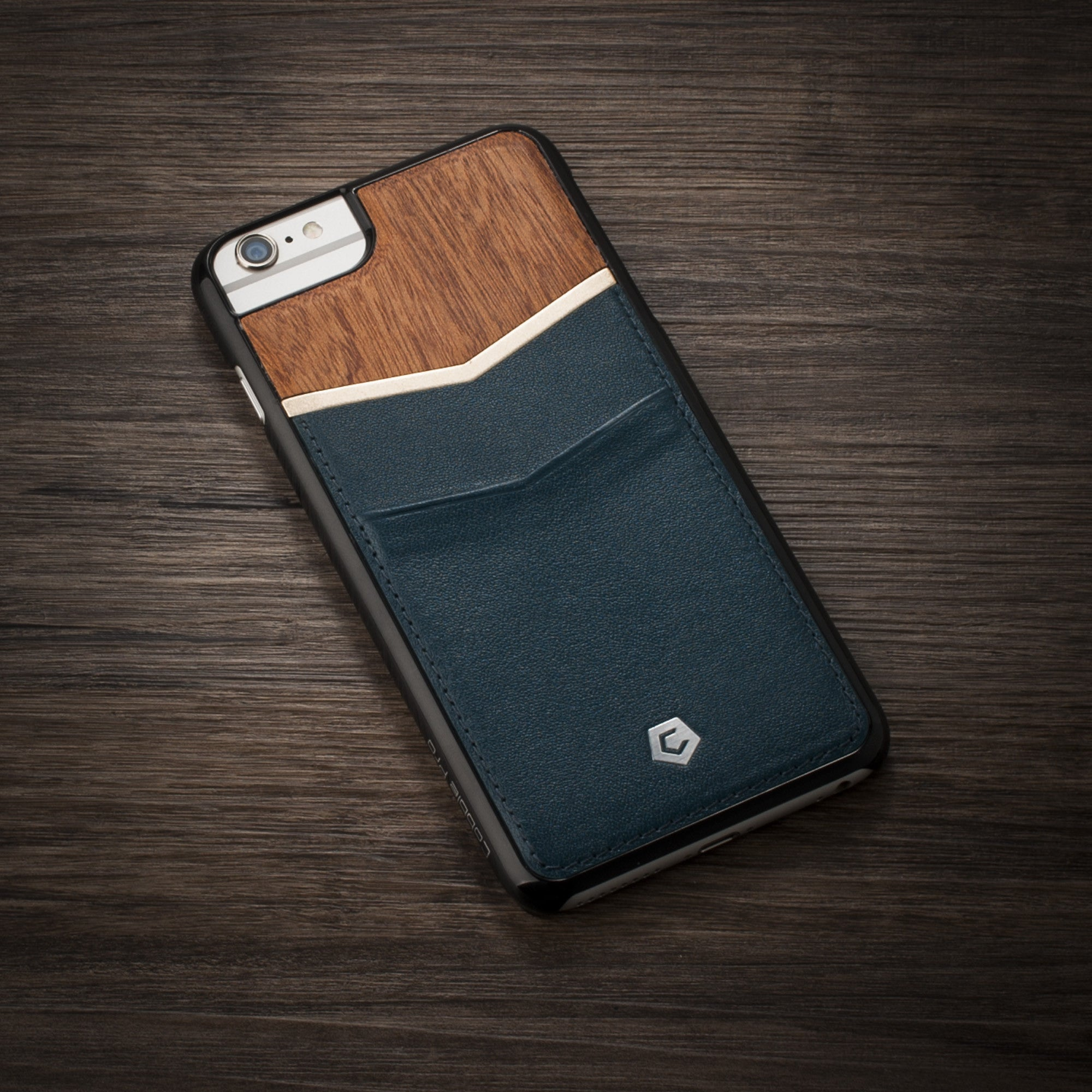 best value 2ac5f 3b590 Cherry Wood/Dark Blue Genuine Leather Textured Back Cover with Card Slots  for iPhone 6 Plus/6s Plus