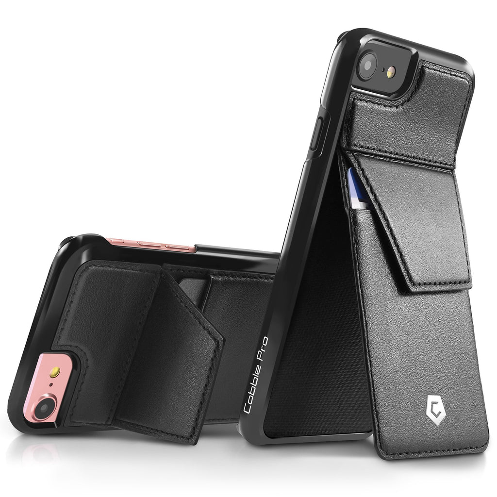 new products e4ef0 b42d2 Black Genuine Leather Back Case with Stand Feature and Card Slot for iPhone  6 / 6s / 7 / 8