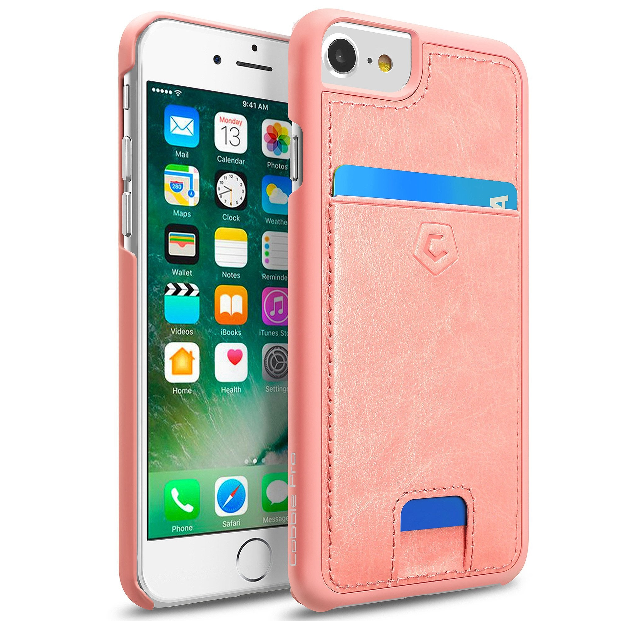 timeless design 535ec 477bb Pink Premium Synthetic Leather Back Cover with Card Slot for iPhone 6 / 6s  / 7 / 8