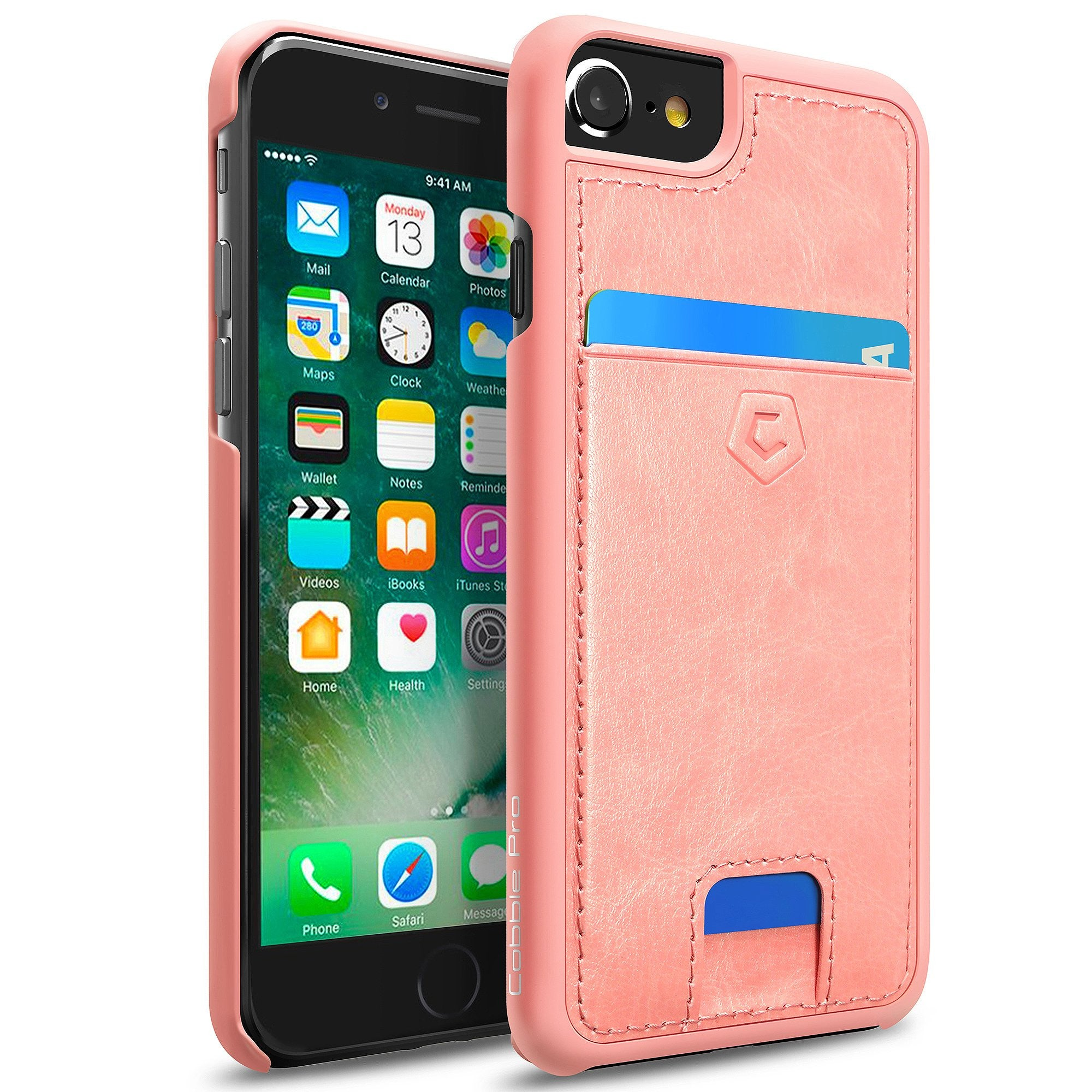 timeless design b962a 48061 Pink Premium Synthetic Leather Back Cover with Card Slot for iPhone 6 / 6s  / 7 / 8