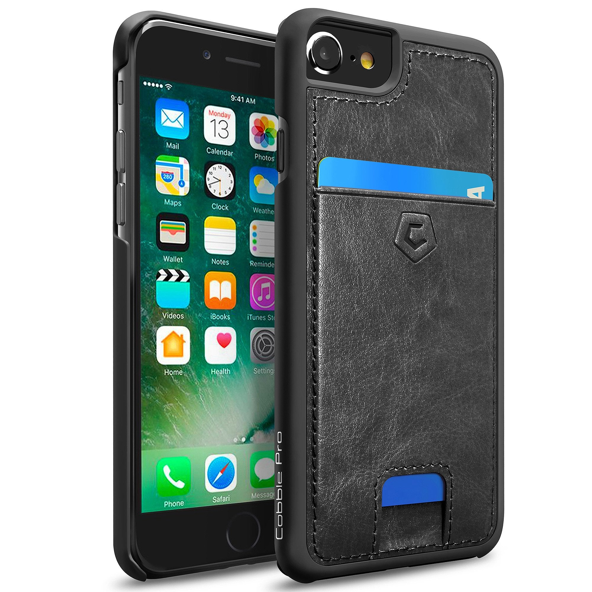 timeless design b5e09 7915e Black Premium Synthetic Leather Back Cover with Card Slot for iPhone  6/6s/7/8