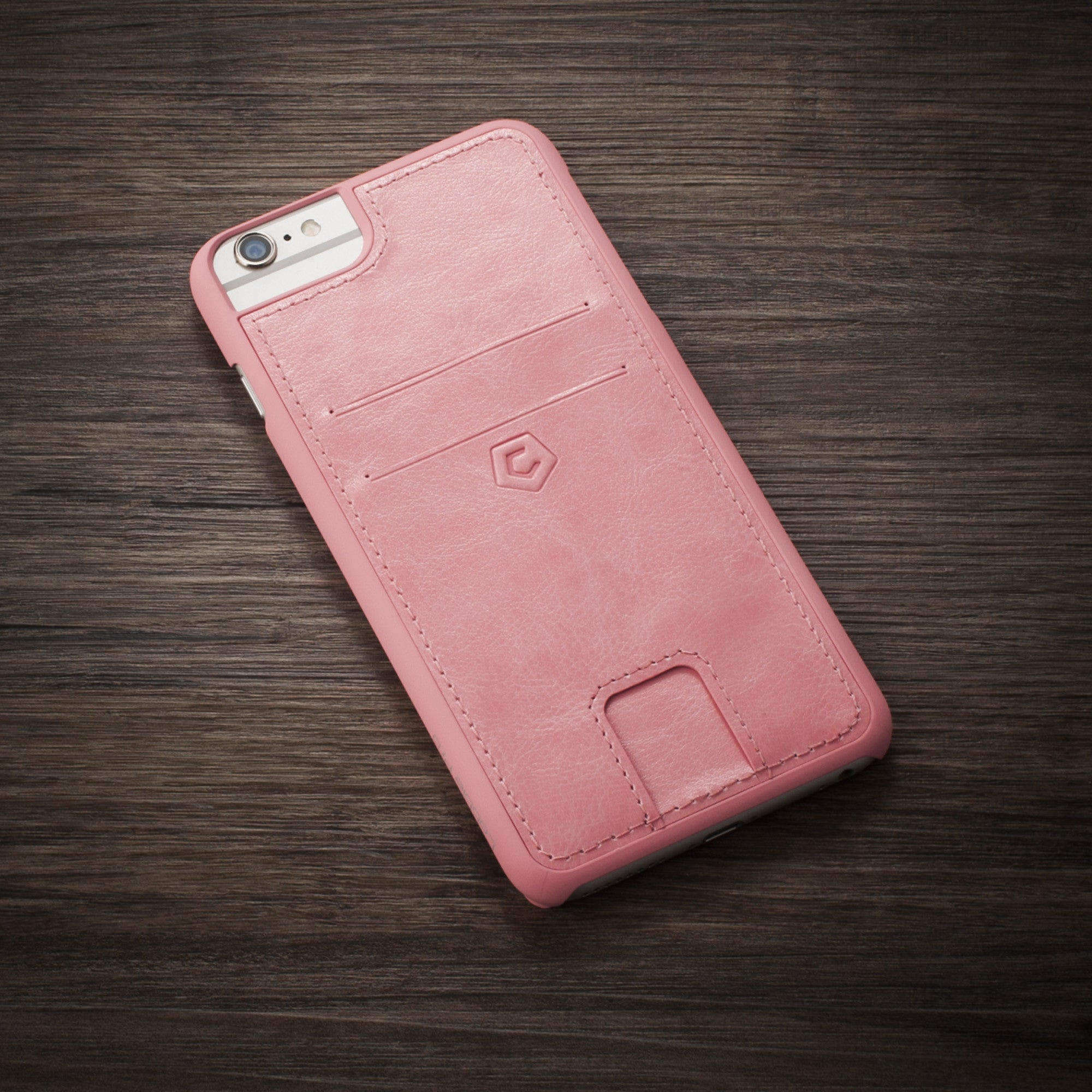 best website 2917a 70ad0 Pink Leather Textured Back Cover with Card Slots for iPhone 6 Plus/6s Plus