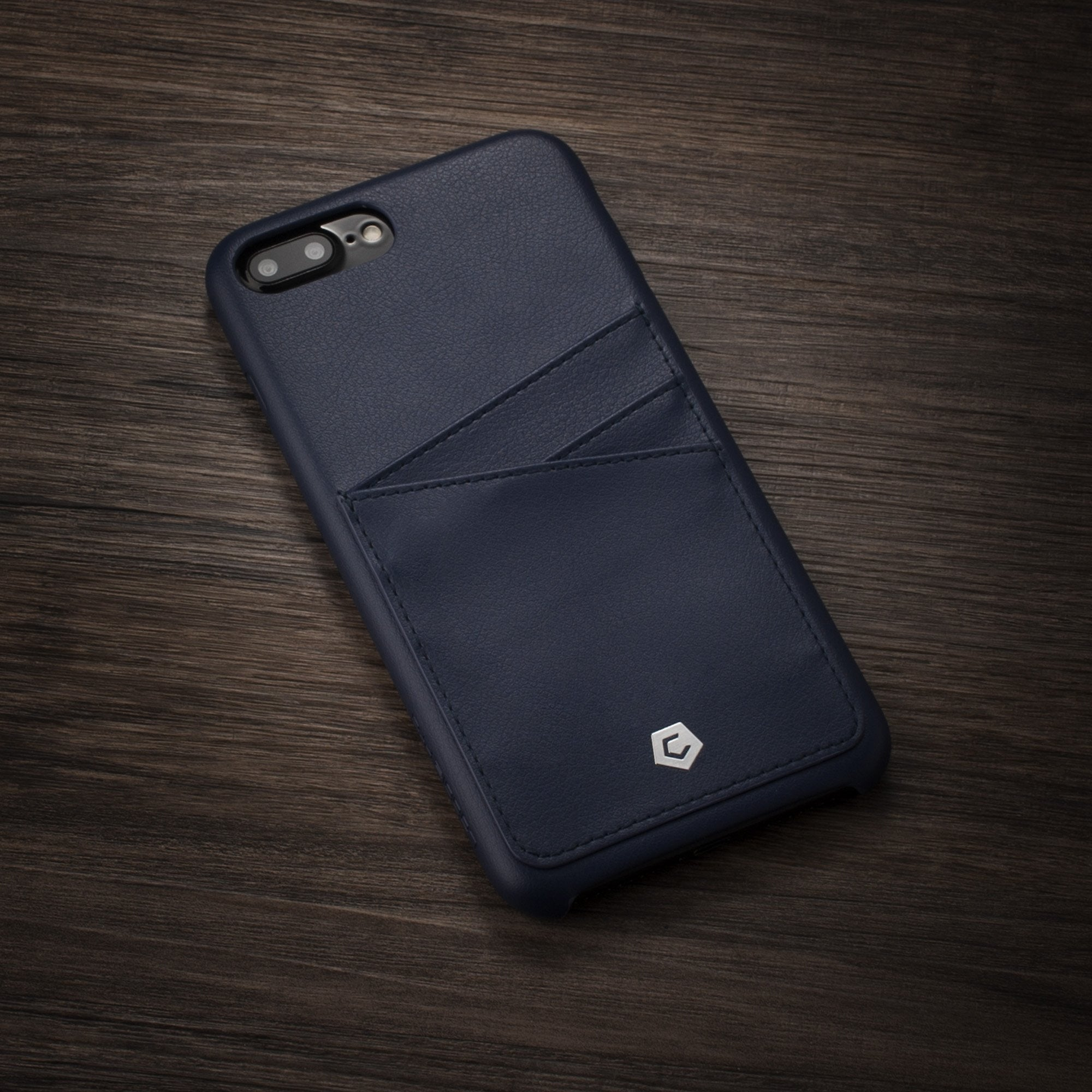 the latest 5c10a a3132 Dark Blue Leather Textured Back Cover for iPhone 7 Plus / 8 Plus
