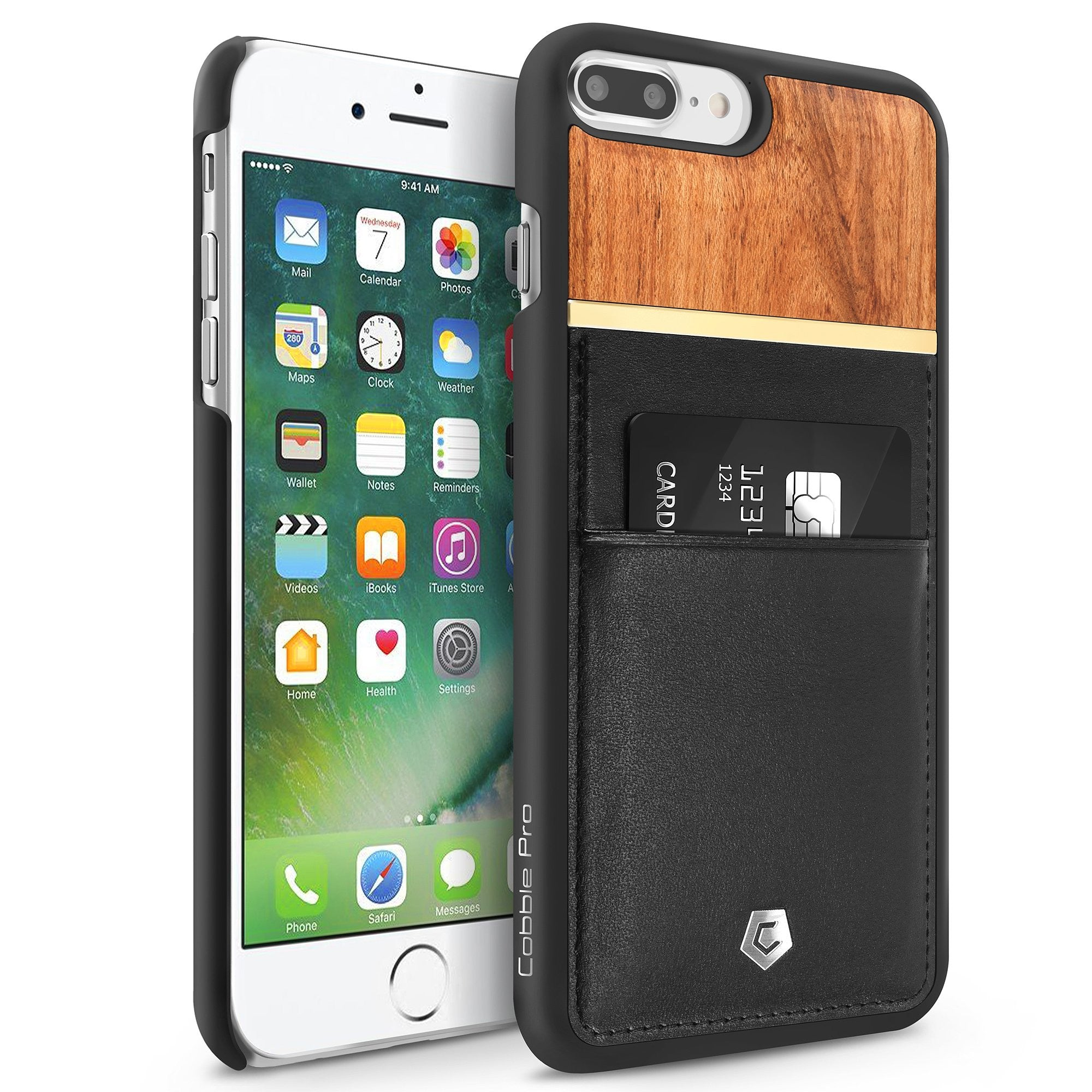 premium selection 6b10e 13b76 Black/Rose Wood Genuine Leather Back Cover with Card Slot for iPhone ...