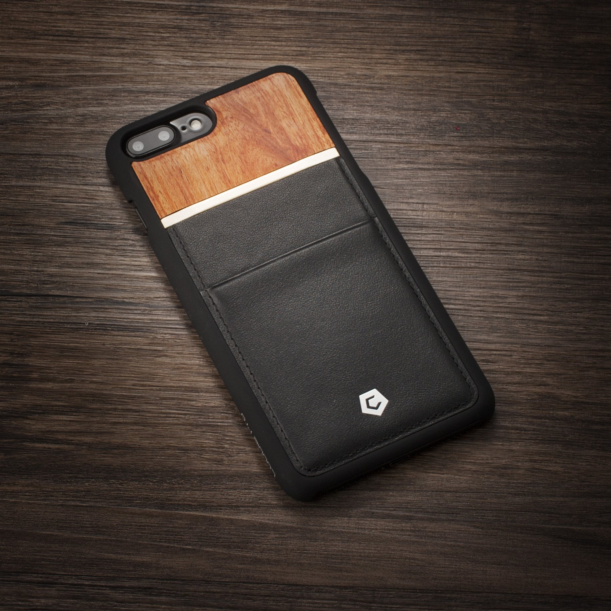 Black Rose Wood Genuine Leather Back Cover with Card Slot for iPhone 7 Plus    8 Plus bc3a39004378