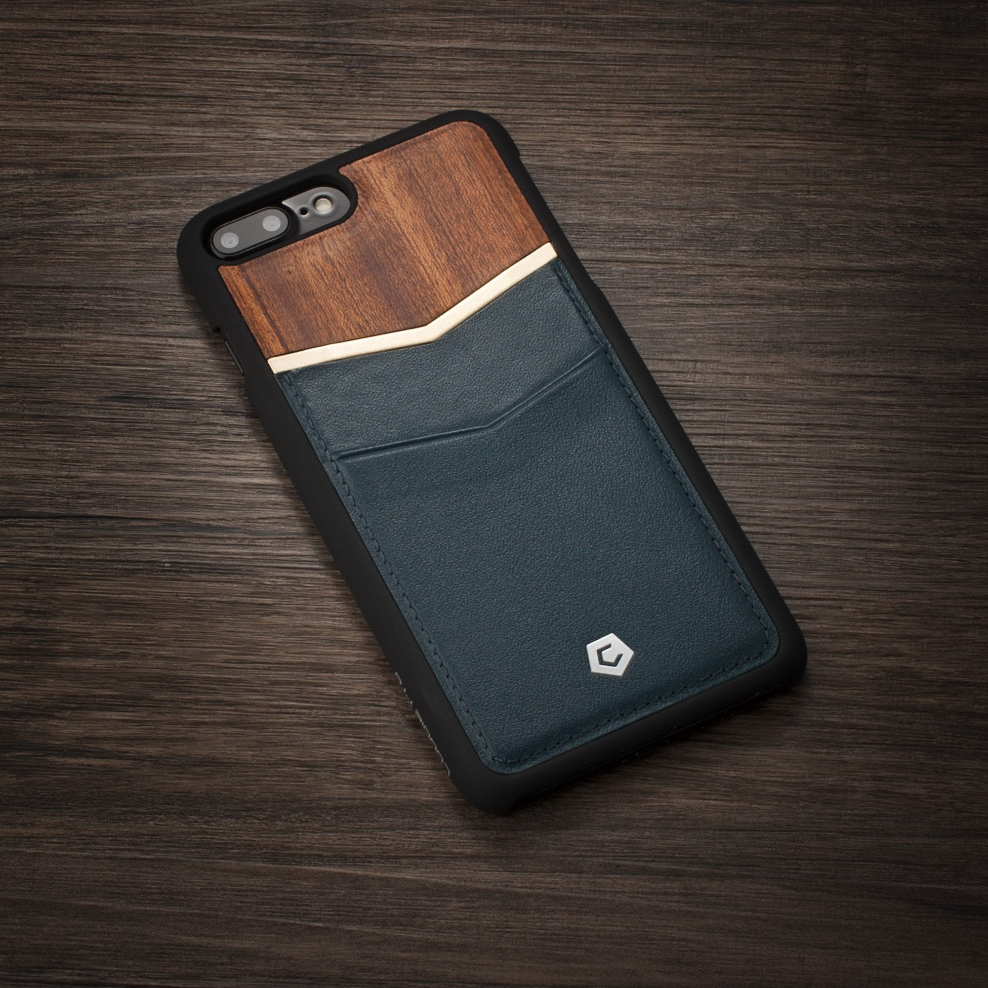 the latest 3cbac 96f77 Dark Blue/Cherry Wood Genuine Leather Back Cover with Card Slot for iPhone  7 Plus / 8 Plus
