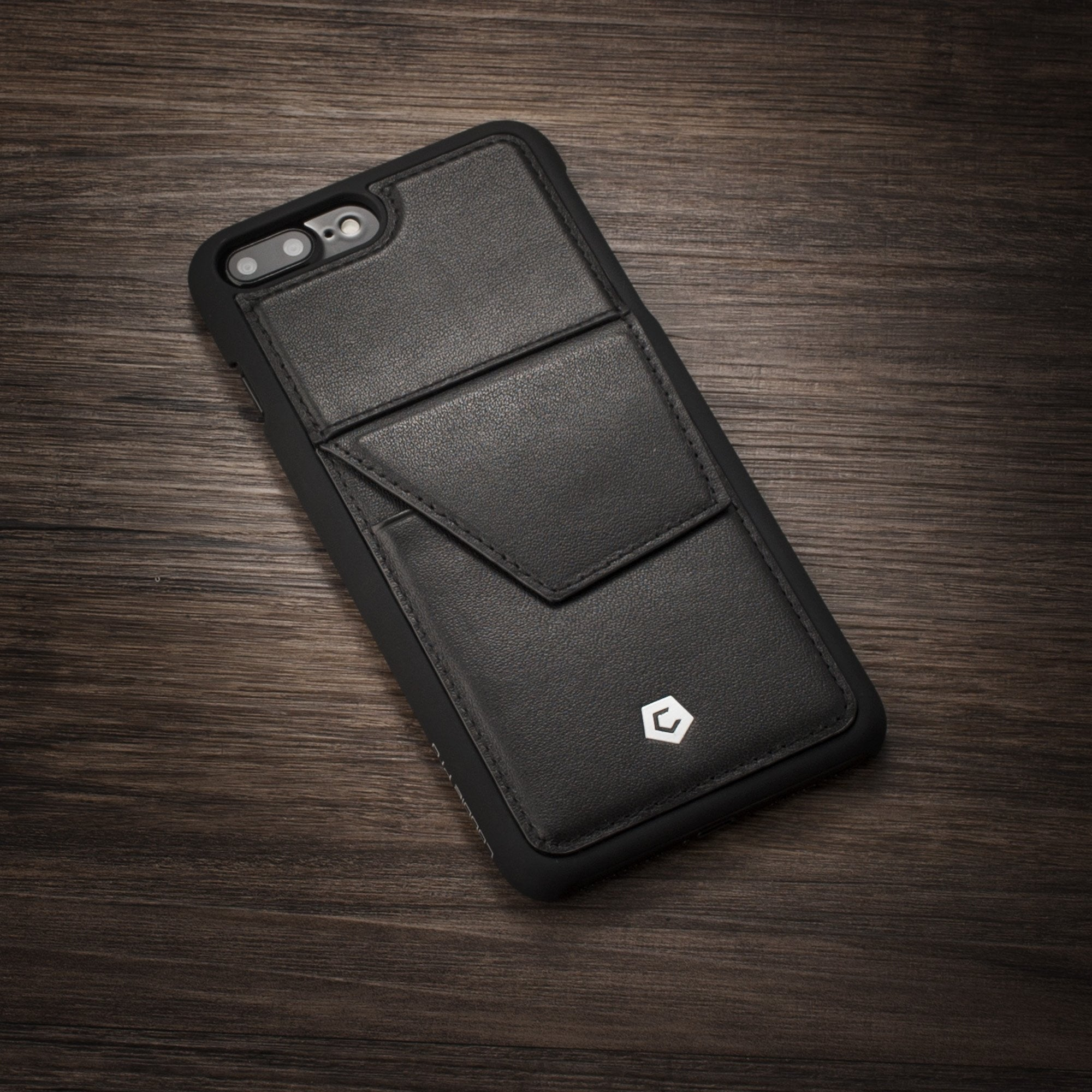 4eb57b7a6 ... Black Genuine Leather Back Case with Stand Feature and Card Slot for  iPhone 7 Plus ...