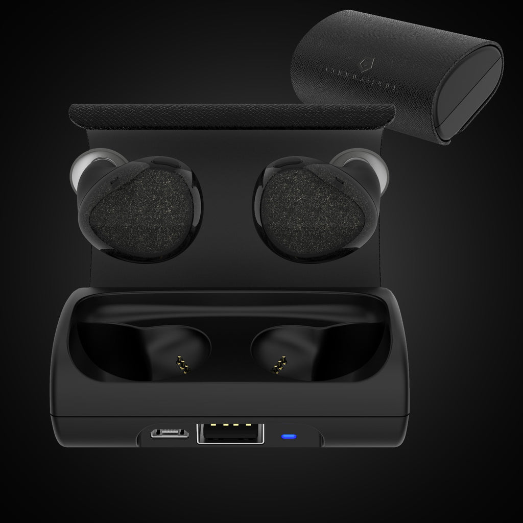 True Wireless Bluetooth 4.1 Earbuds with Mic and Charging Case -Black