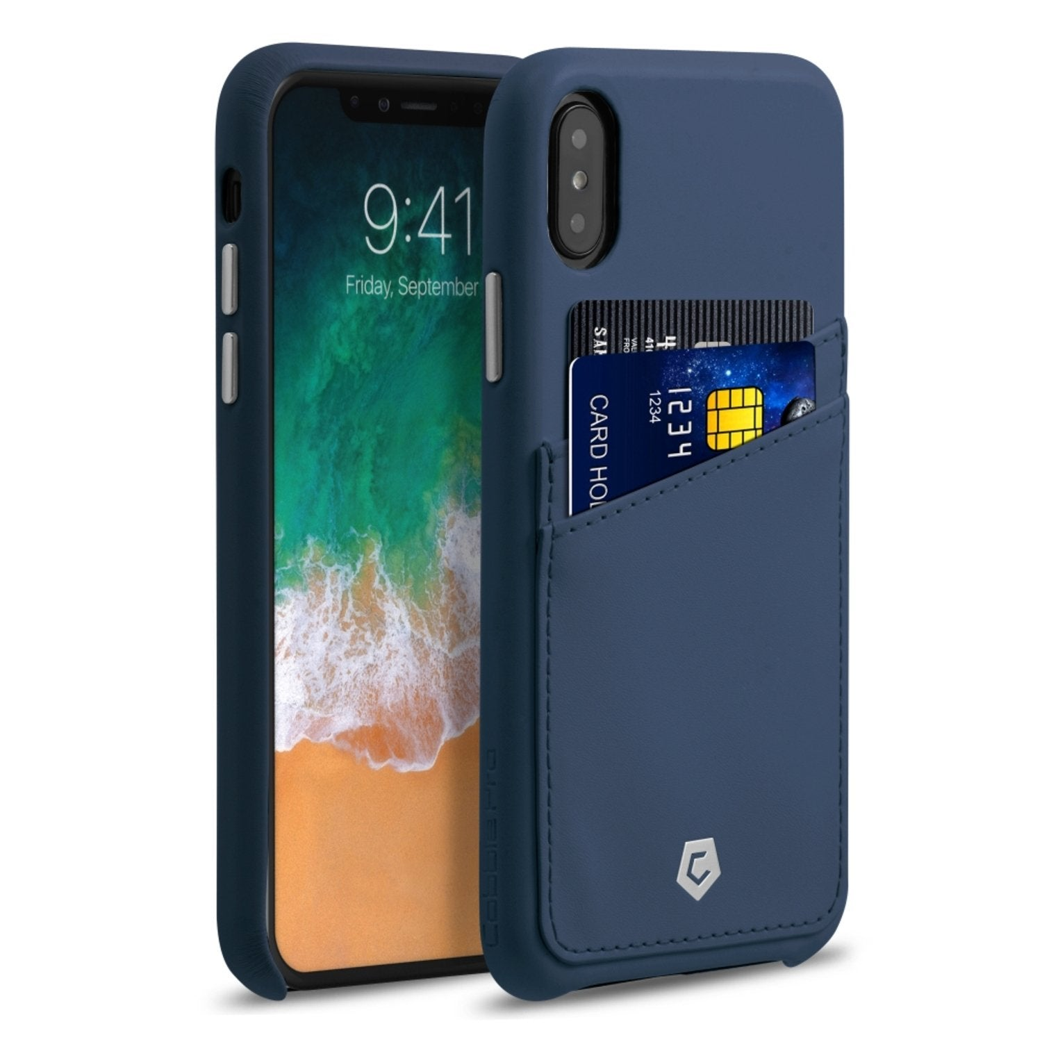 reputable site 02e6b fd751 Dark Blue Leather Textured Back Cover Case for iPhone X/XS