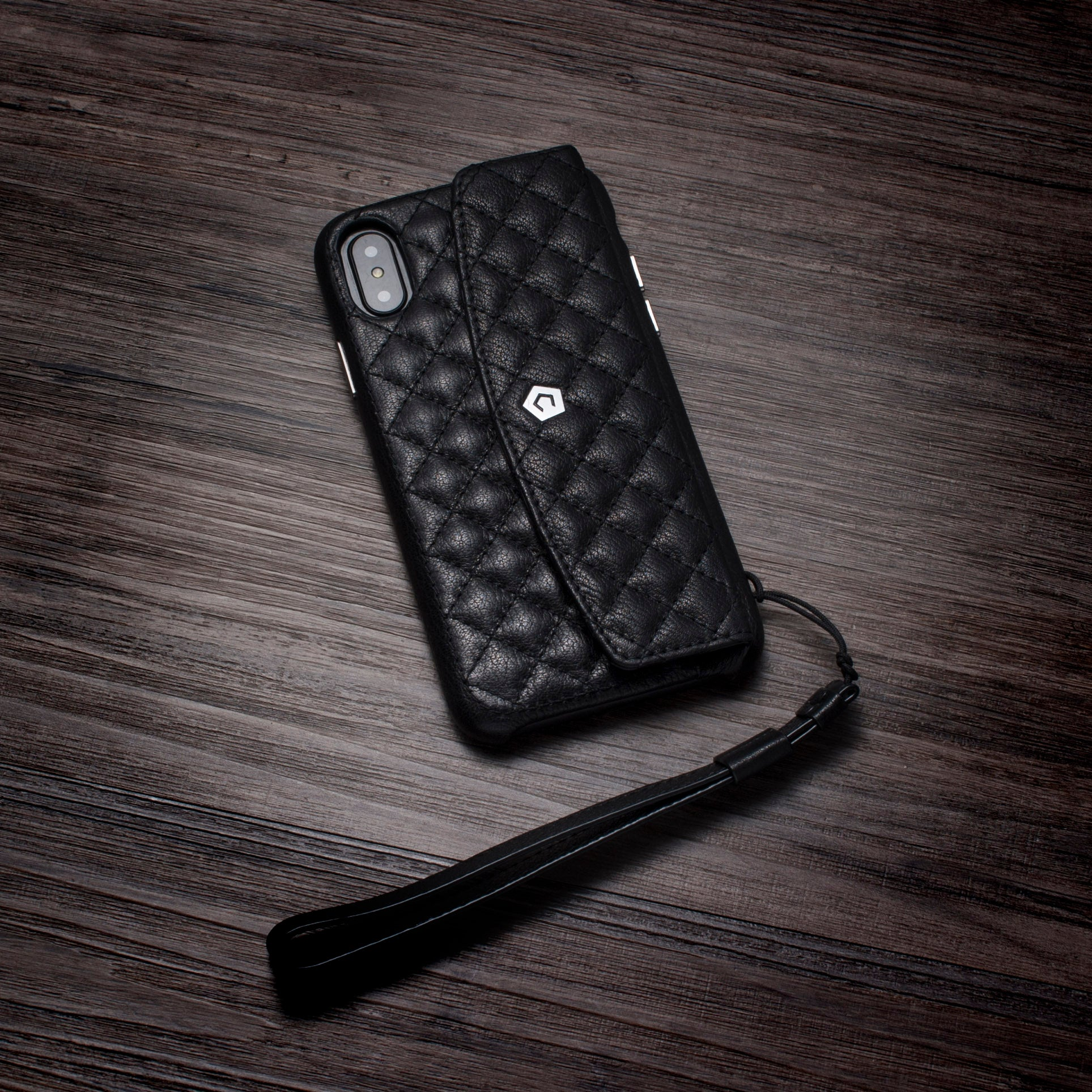 70bbe3d24c48 ... Black Leather Quilted Purse Wallet Back Cover Case for iPhone X/XS ...