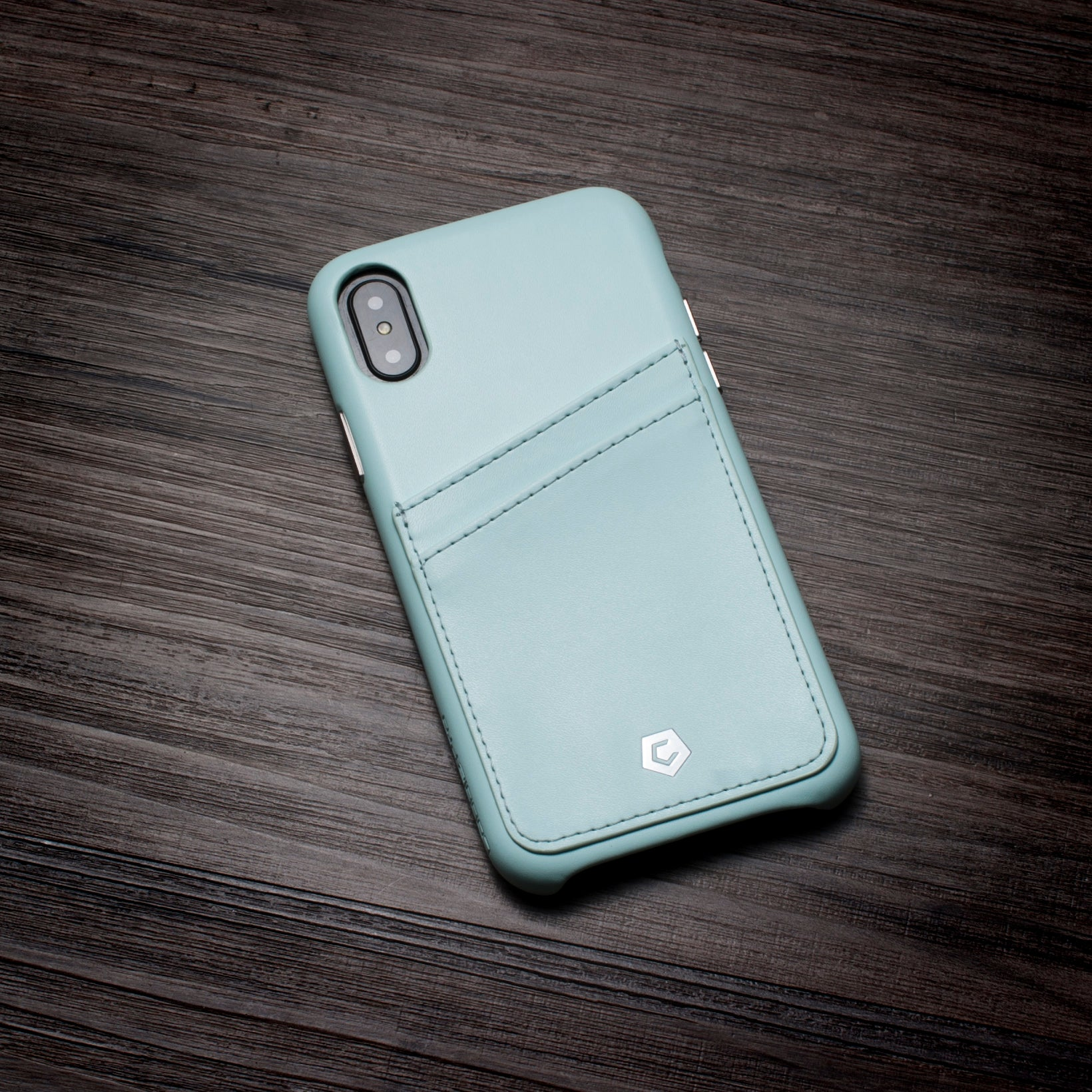 Mint Green Leather Textured Back Cover Case For Iphone X Cobble Pro