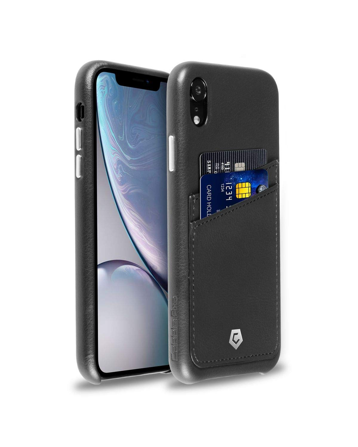quality design f821b f961b Black Leather Textured Back Cover Case for iPhone XR